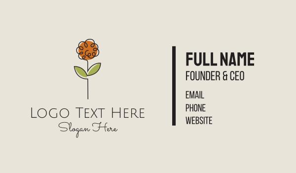 waxing - Minimalist Peony Flower Business card horizontal design