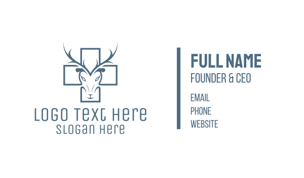 antelope - Cross & Deer Business card horizontal design