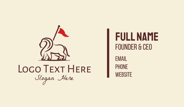 emblem - Royal Lion Flag Bearer Business card horizontal design