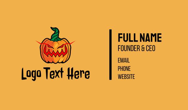 mascot - Evil Halloween Pumpkin Business card horizontal design