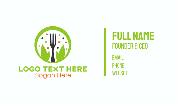 salad restaurant - Green Healthy  Restaurant Business card horizontal design