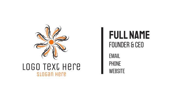orange sun - Orange Flower Business card horizontal design