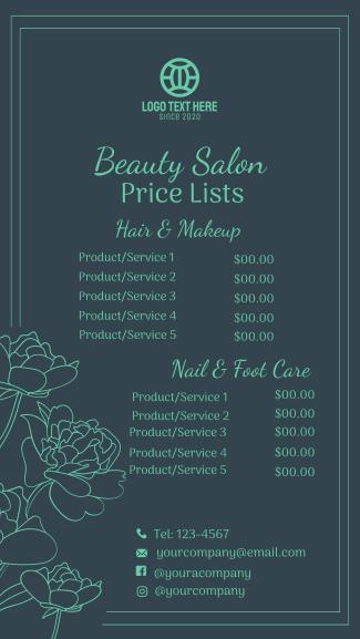Salon Pricelist Facebook story