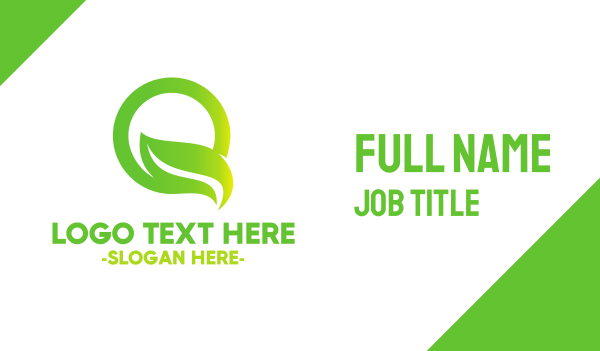 green circle - Leaf Letter Q Business card horizontal design