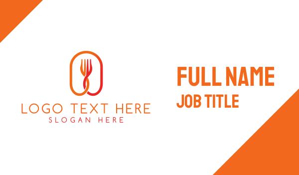 eating - Orange Fork Business card horizontal design