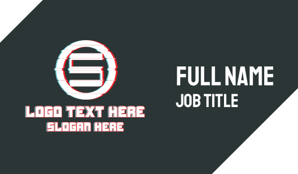 glitchy - Letter S Ring Glitch Business card horizontal design