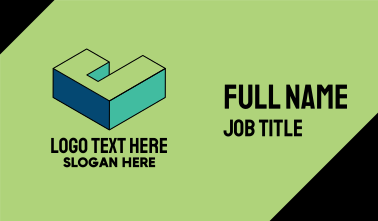 3D Pixel Letter J Business Card