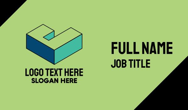 pop art - 3D Pixel Letter J Business card horizontal design