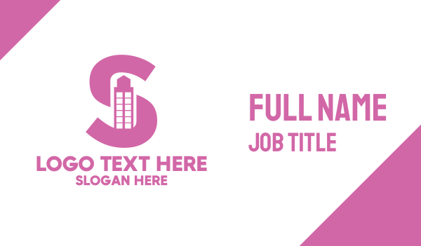 pink tower - Pink Building Letter S Business card horizontal design