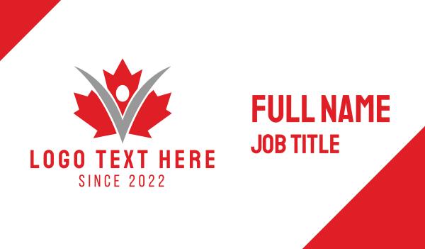 maple leaf - Canadian Citizen Business card horizontal design