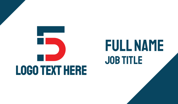 dynamo - Blue Red Number 5 Business card horizontal design