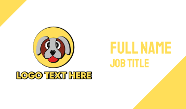 Cute Dog Circle Business Card