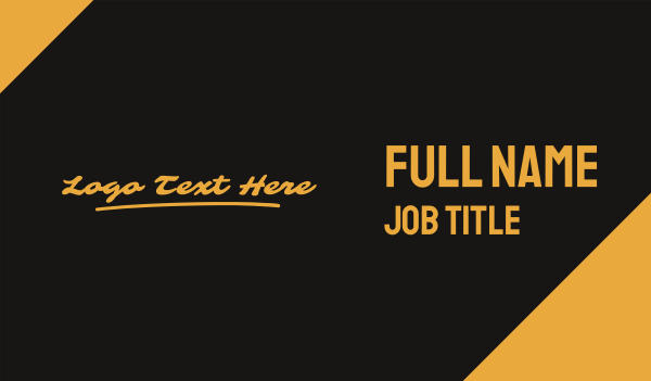 autograph - Golden Script Wordmark Business card horizontal design