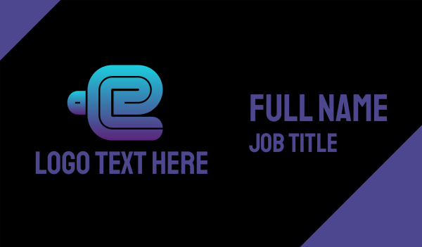 text - Thick Blue Letter E Business card horizontal design
