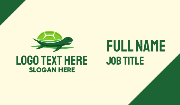 green turtle - Cute Green Turtle Business card horizontal design