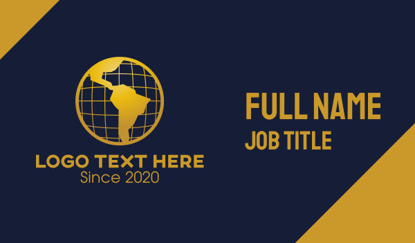 world map - Golden World Atlas Business card horizontal design