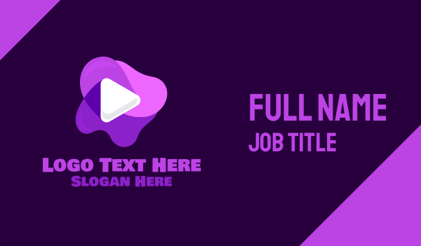 youtube vlog - Purple Slime Video Business card horizontal design