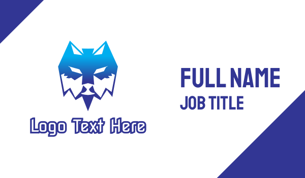 blue dog - Blue Polygon Wolf Business card horizontal design