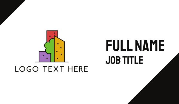 blocks - Green City Business card horizontal design