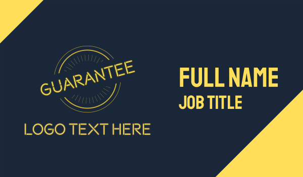 merchandise - Yellow Neon Guarantee Seal Business card horizontal design