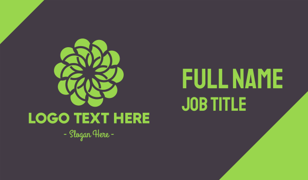 park - Green Flower Pattern Business card horizontal design