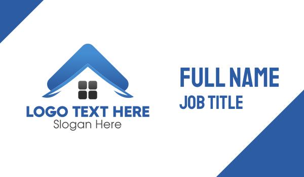 guttering - Blue Property Roof Business card horizontal design
