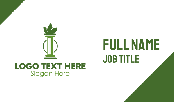 marijuana - Green Cannabis Column Letter I Business card horizontal design