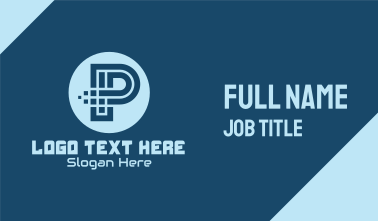 Pixelated Tech Letter P Business Card