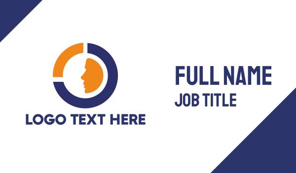 recognition - Blue Orange Circle Face Business card horizontal design