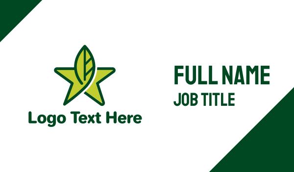 green star - Leaf Star Business card horizontal design