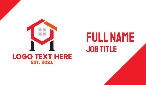 red hexagon - Hexagon House H Business card horizontal design