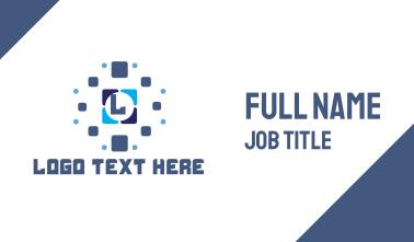 Blue Tile Pixel Lettermark Business Card
