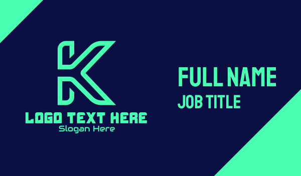app development - Green Tech Letter K Business card horizontal design
