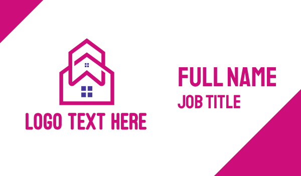 home services - Pink House Outline Business card horizontal design