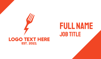 Electric Fork Fast Food Restaurant Business Card