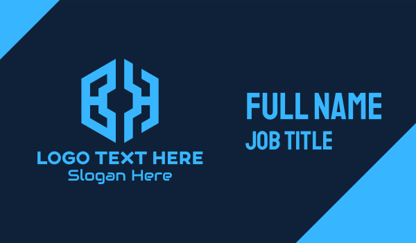 initials - Blue Hexagon Tech BH Business card horizontal design