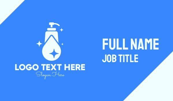 fluid - Blue Sparkling Clean Liquid Soap Business card horizontal design