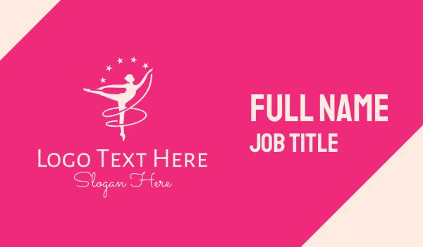 dancer - Pink Ballet Gymnast Business card horizontal design