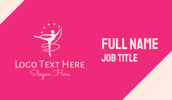 talent - Pink Ballet Gymnast Business card horizontal design