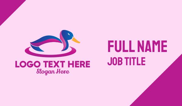 lgbtq - Colorful Mallard Duck Business card horizontal design