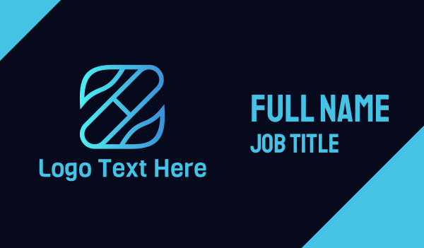 blue leaf - Pharma Letter Z  Business card horizontal design