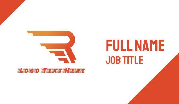 rally - Rushing Orange R Business card horizontal design