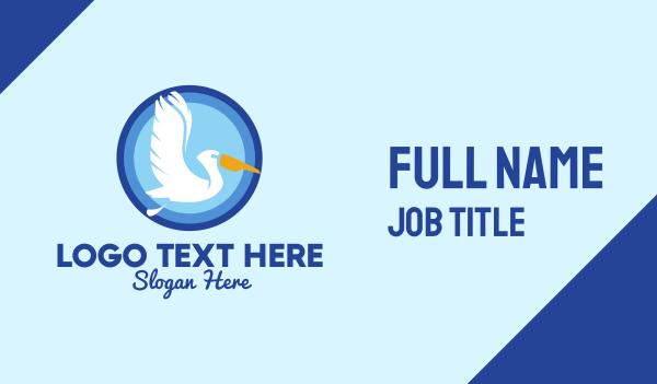 egret - Migratory Pelican Bird Business card horizontal design