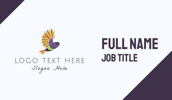 tropical bird - Colorful Bird Business card horizontal design