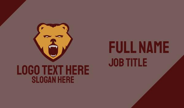 growl - Wild Aggressive Brown Bear Business card horizontal design