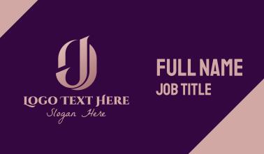 Elegant OJ Monogram Business Card
