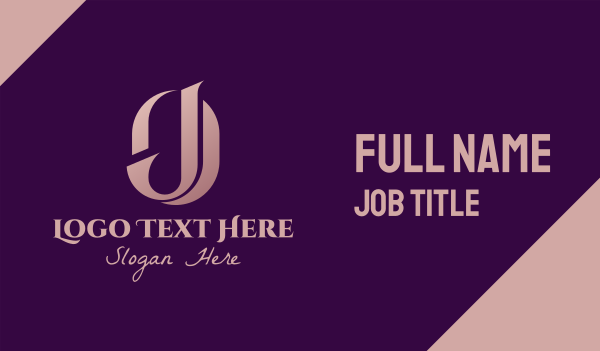 fashion accessories - Elegant OJ Monogram Business card horizontal design