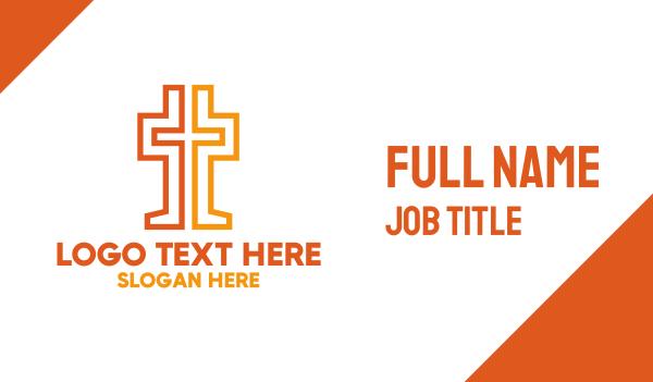 catholic - Geometric Christian Cross  Business card horizontal design