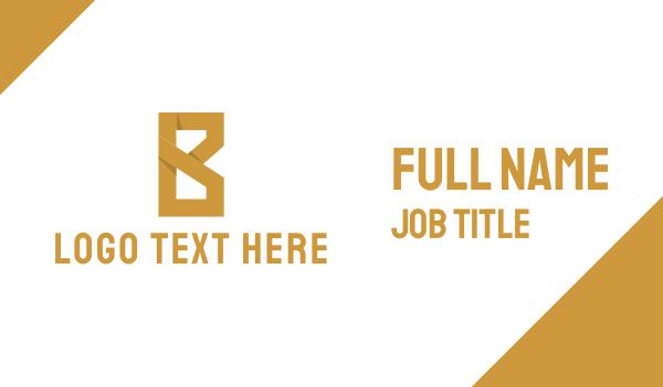 text - Golden Letter B Business card horizontal design