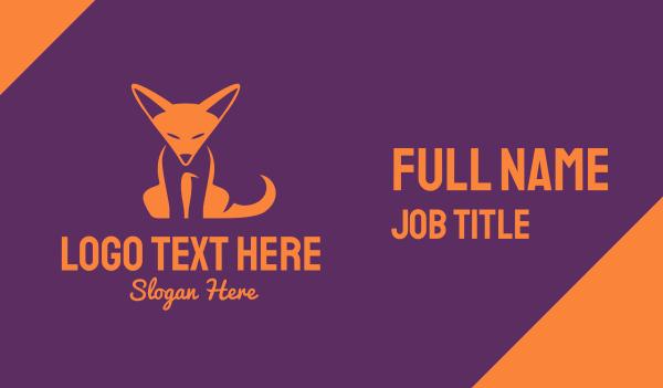 orange and white - Orange Fox Cub Business card horizontal design